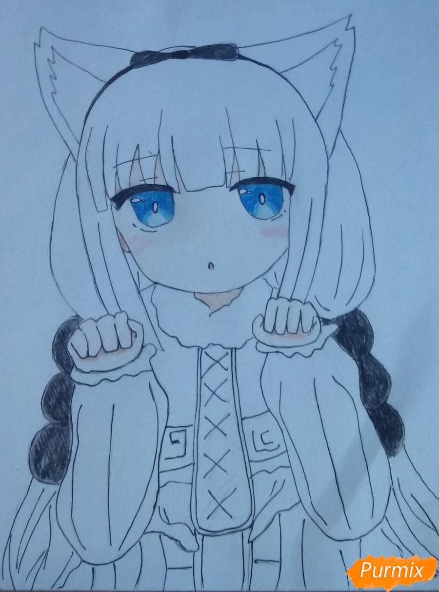 Рисуем Канну из аниме Дракон-горничная карандашами - фото 13