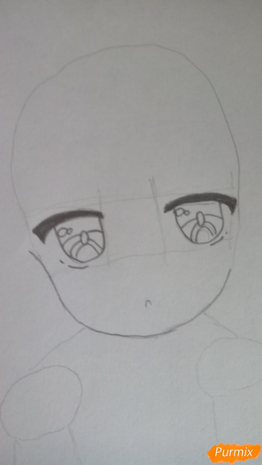 Рисуем Канну из аниме Дракон-горничная карандашами - шаг 3