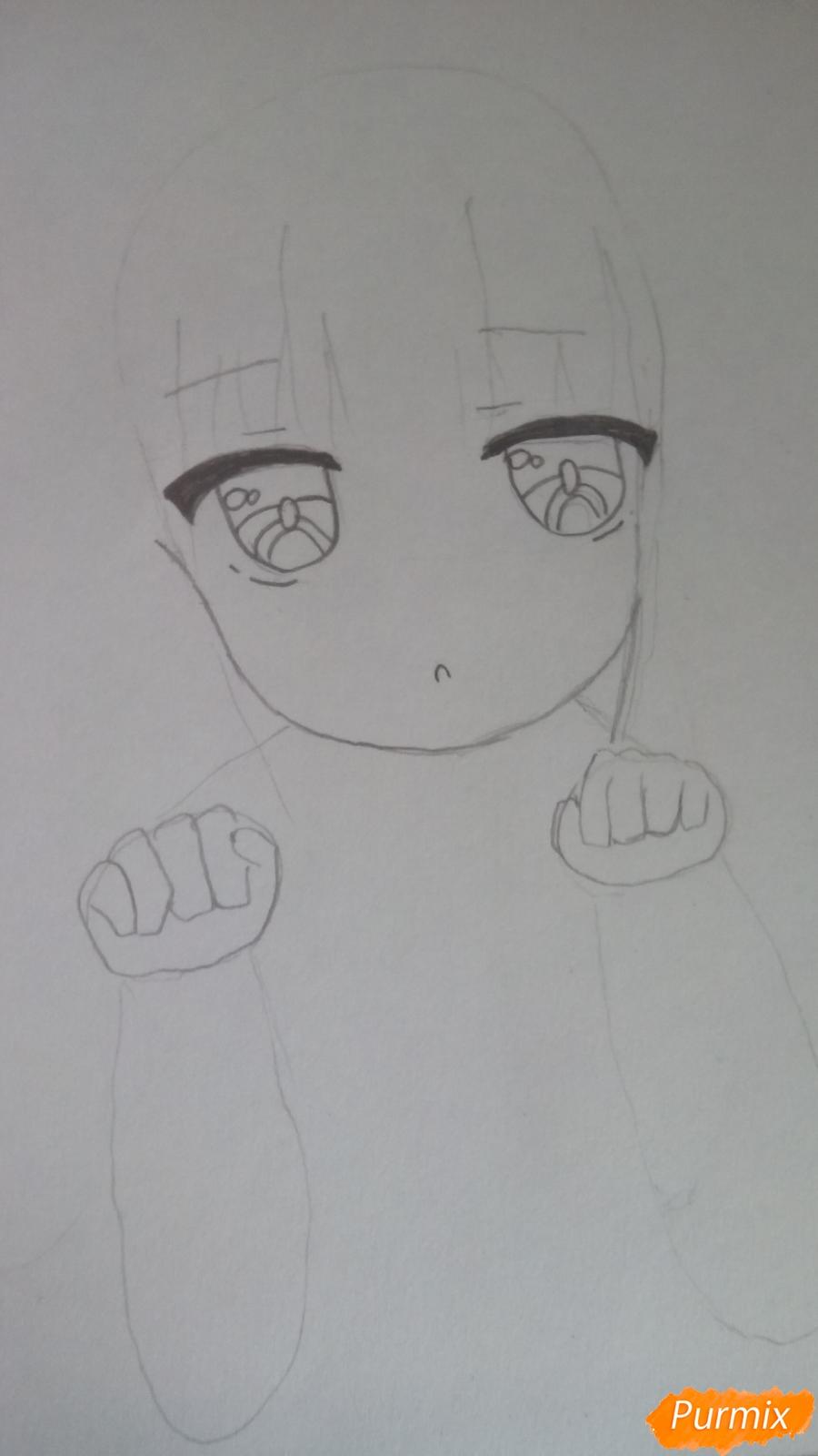 Рисуем Канну из аниме Дракон-горничная карандашами - шаг 4