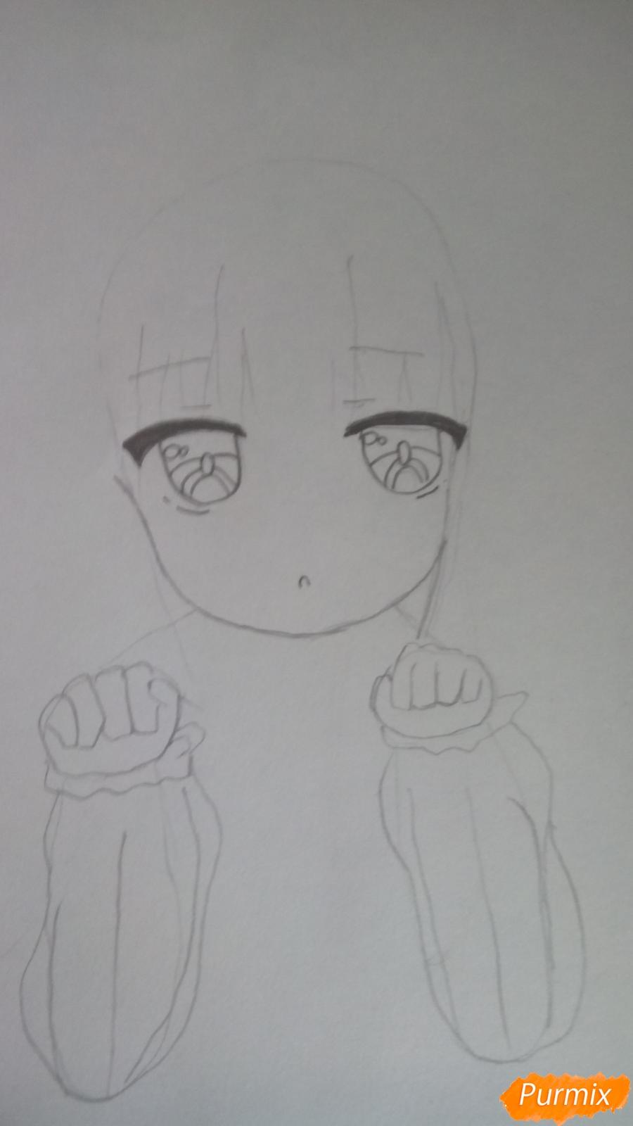 Рисуем Канну из аниме Дракон-горничная карандашами - фото 5