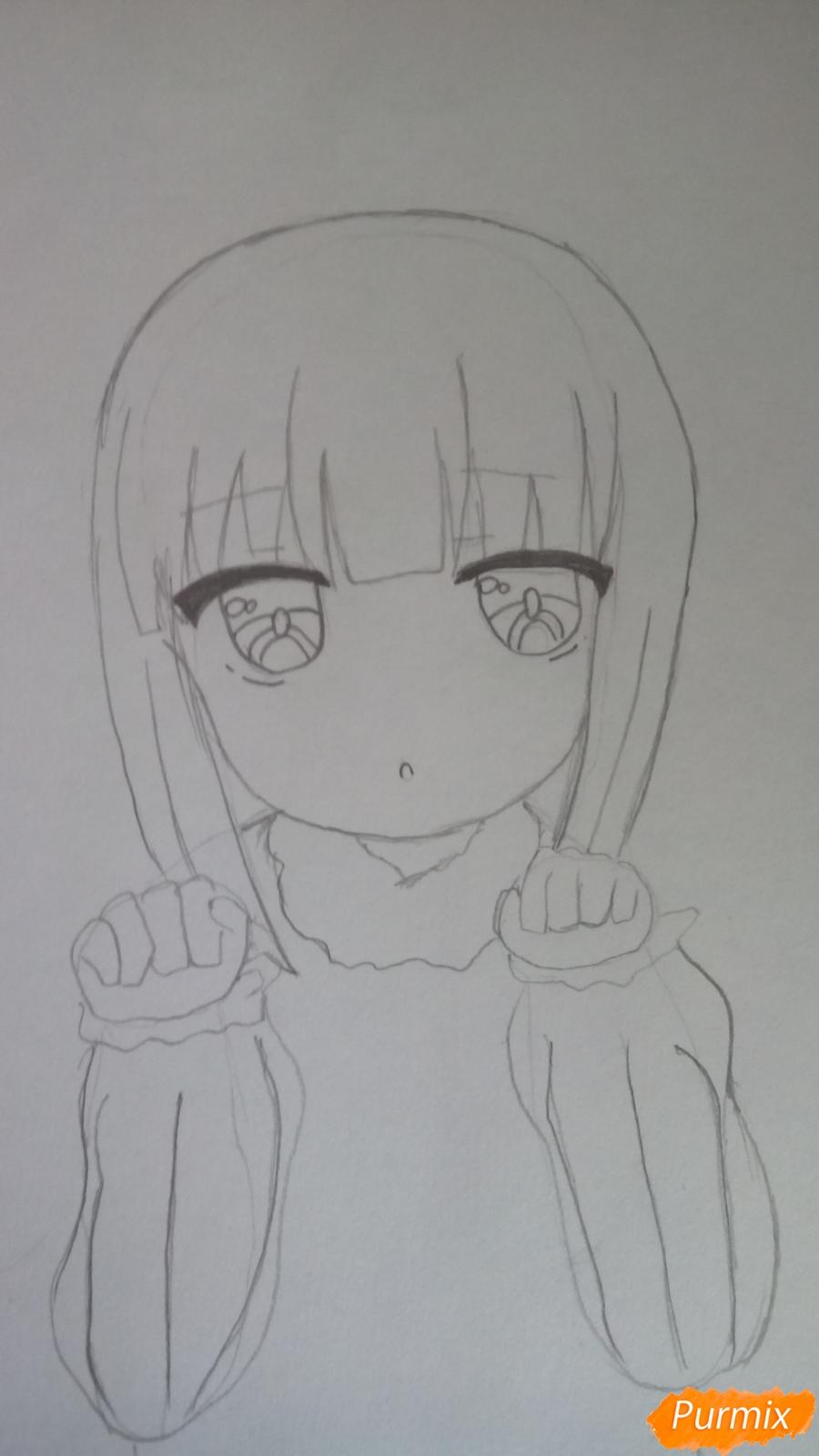 Рисуем Канну из аниме Дракон-горничная карандашами - шаг 6