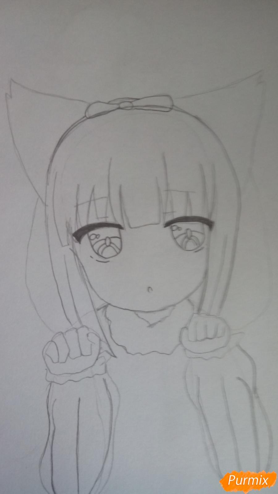 Рисуем Канну из аниме Дракон-горничная карандашами - фото 7