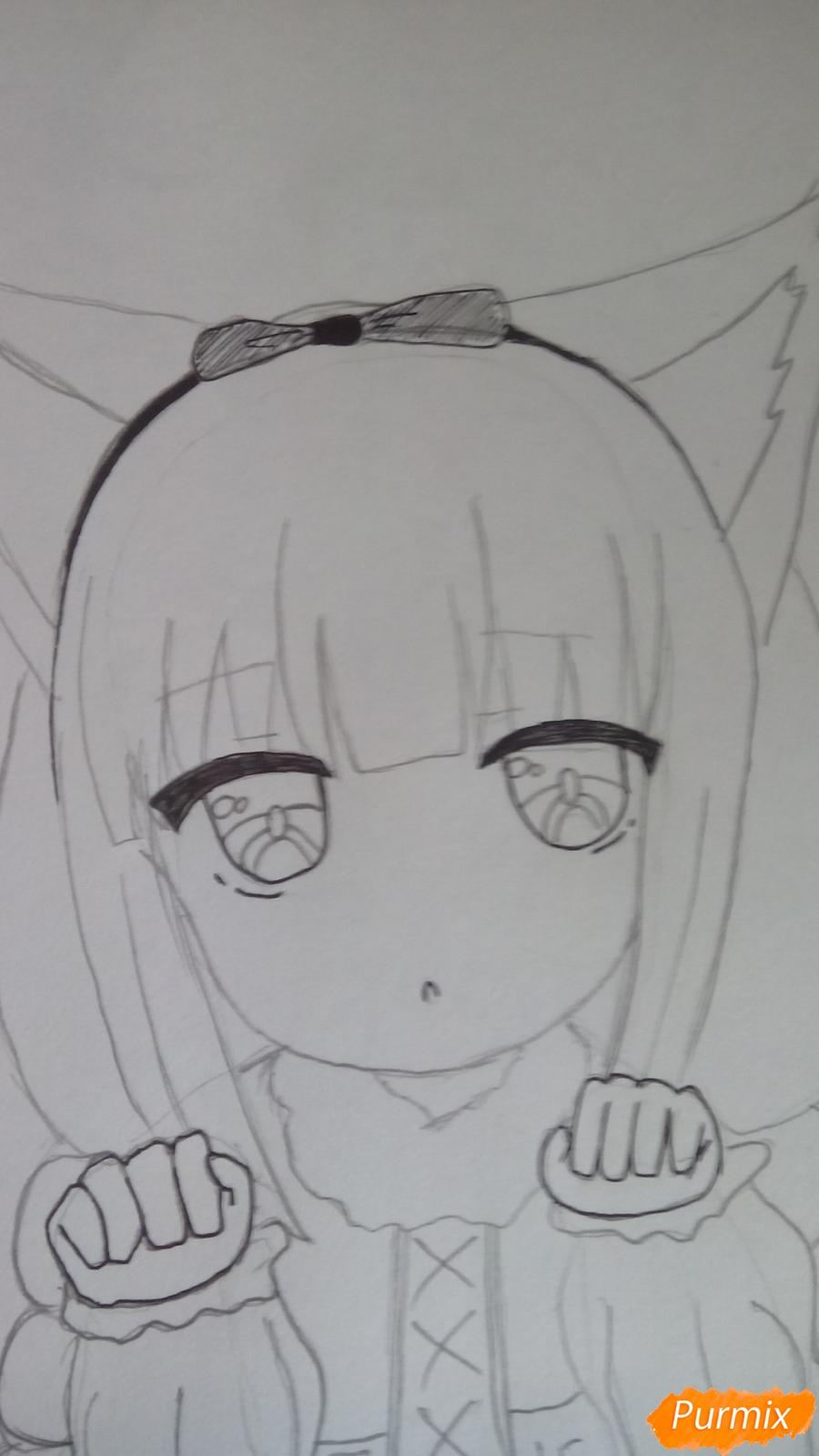 Рисуем Канну из аниме Дракон-горничная карандашами - фото 9