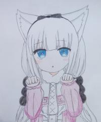 Рисунок Канну с кошачьими ушками из аниме Дракон-горничная