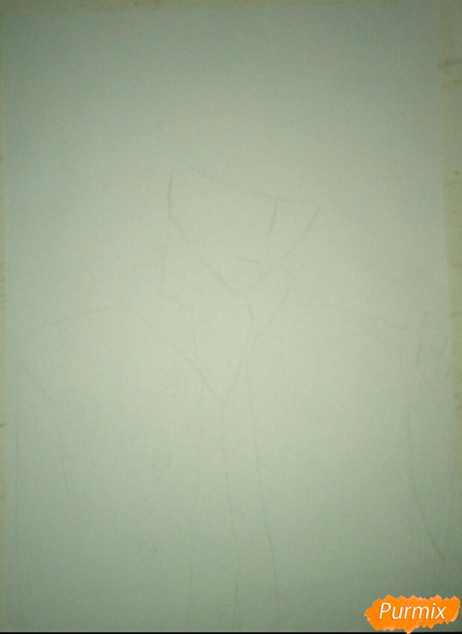 Рисуем Капрала Леви из Атака титанов цветными карандашами - шаг 1