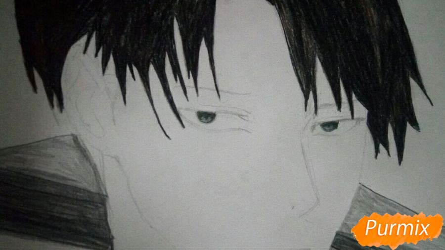 Рисуем Капрала Леви цветными карандашами - фото 13