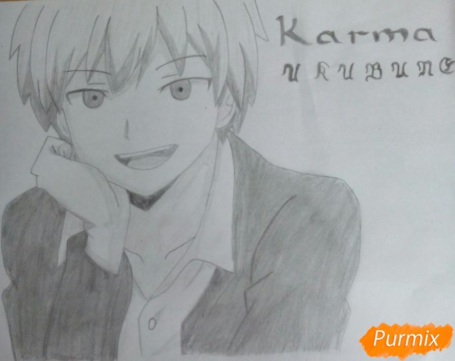 Как нарисовать Карму Акабане из аниме Класс убийц карандашом поэтапно