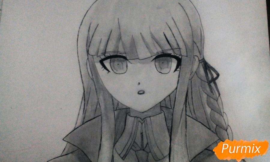 Рисуем Кеко Киригири из аниме Школа отчаяния - шаг 10