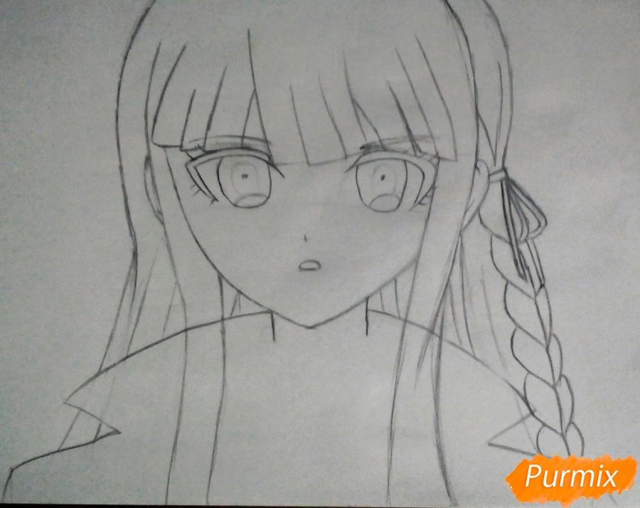 Рисуем Кеко Киригири из аниме Школа отчаяния - шаг 3