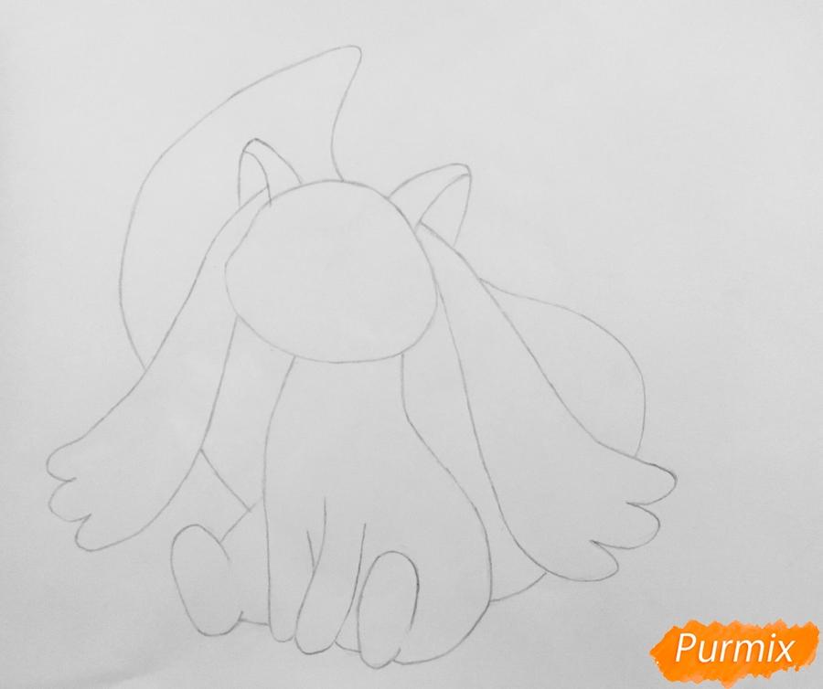 Рисуем белую кошку покемона - шаг 3