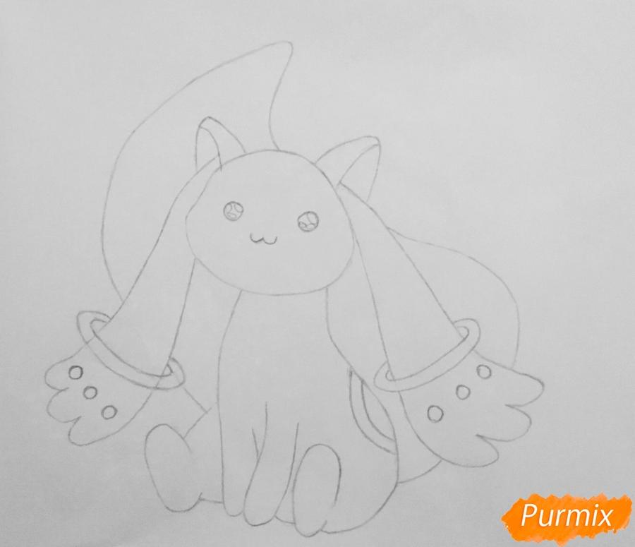 Рисуем белую кошку покемона - шаг 4