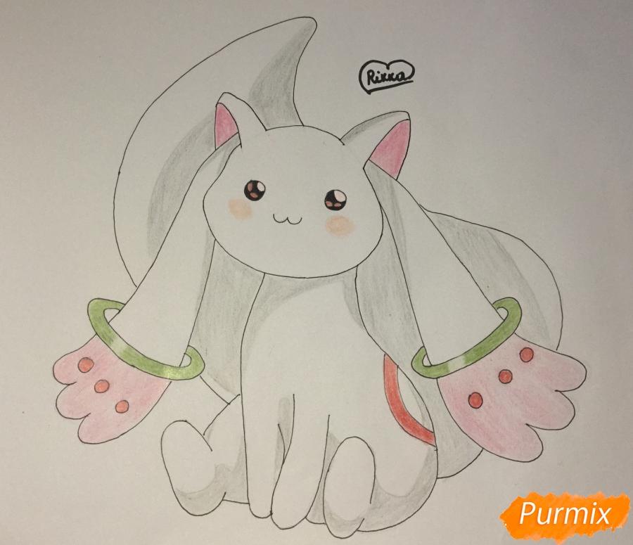 Как нарисовать белую кошку покемона карандашом поэтапно