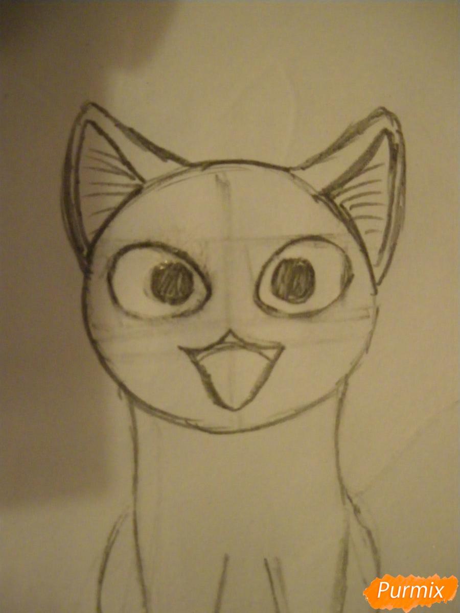 Рисуем кота Чии из аниме Милый дом Чии карандашами - шаг 3