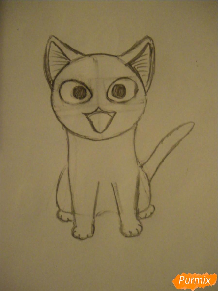 Рисуем кота Чии из аниме Милый дом Чии карандашами - шаг 4