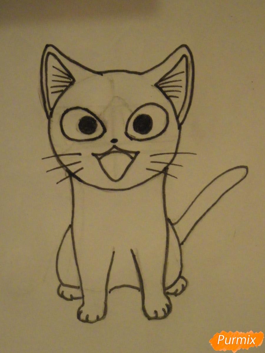 Рисуем кота Чии из аниме Милый дом Чии карандашами - шаг 5