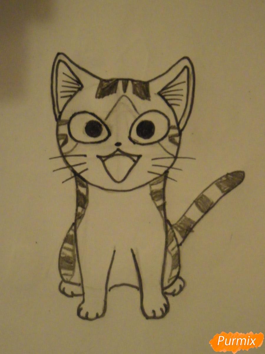 Рисуем кота Чии из аниме Милый дом Чии карандашами - шаг 6