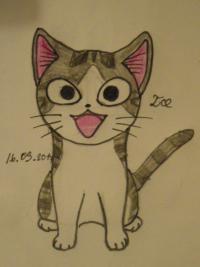 Рисунок кота Чии из аниме Милый дом Чии