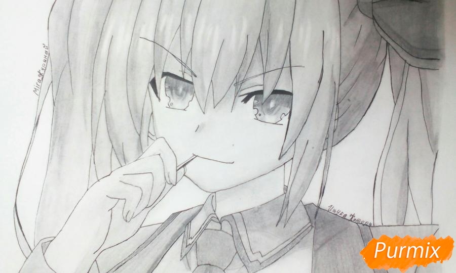 Как нарисовать Котори Ицуку из аниме Рандеву с жизнью карандашом поэтапно