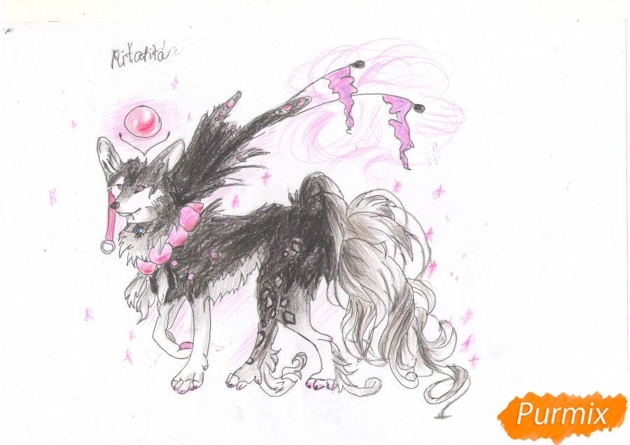 Рисуем красивую аниме волчицу цветными карандашами - шаг 10