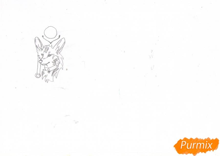 Рисуем красивую аниме волчицу цветными карандашами - шаг 2