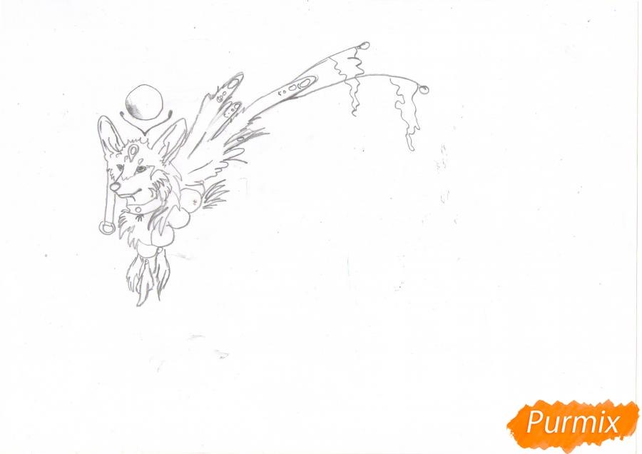 Рисуем красивую аниме волчицу цветными карандашами - шаг 3