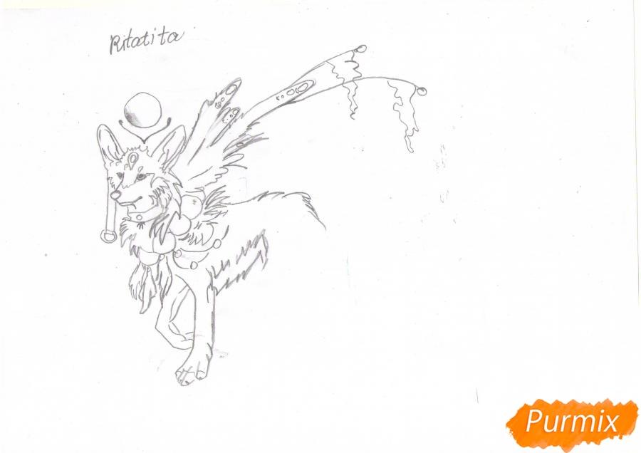 Рисуем красивую аниме волчицу цветными карандашами - шаг 4