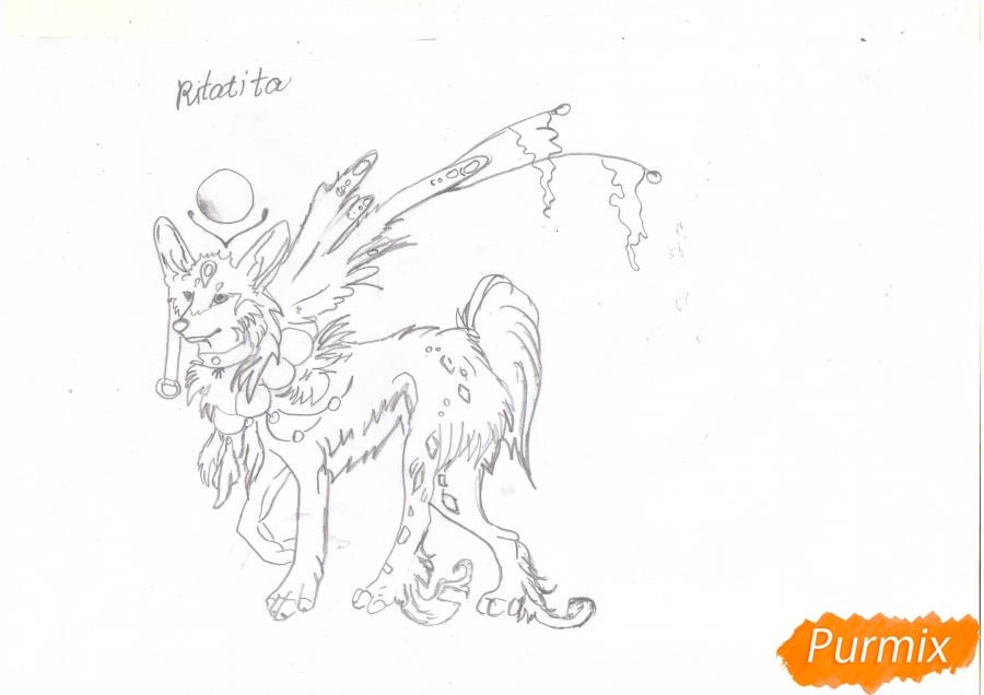 Рисуем красивую аниме волчицу цветными карандашами - шаг 5