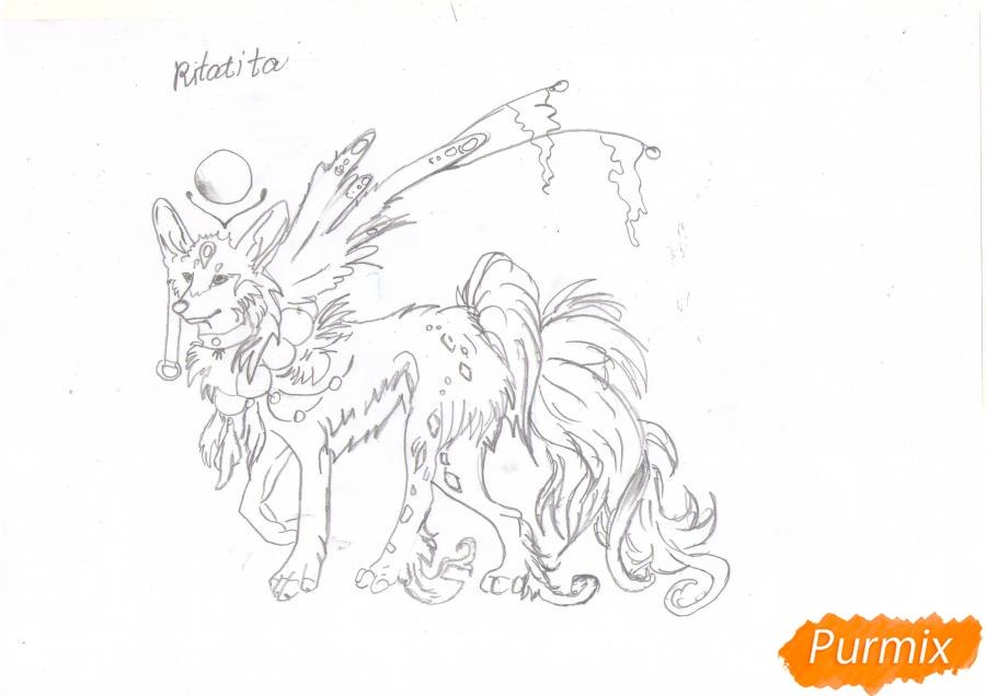 Рисуем красивую аниме волчицу цветными карандашами - шаг 6