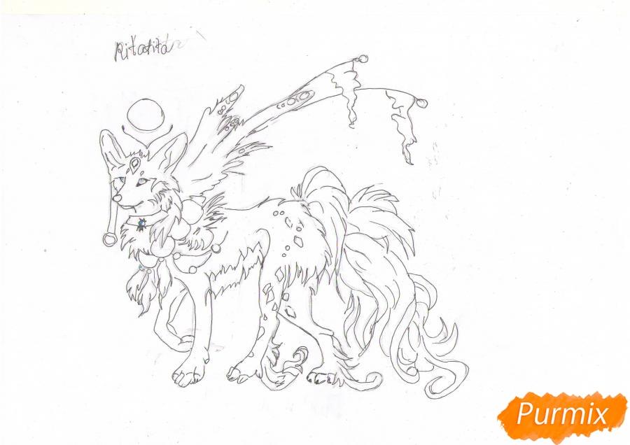 Рисуем красивую аниме волчицу цветными карандашами - шаг 7