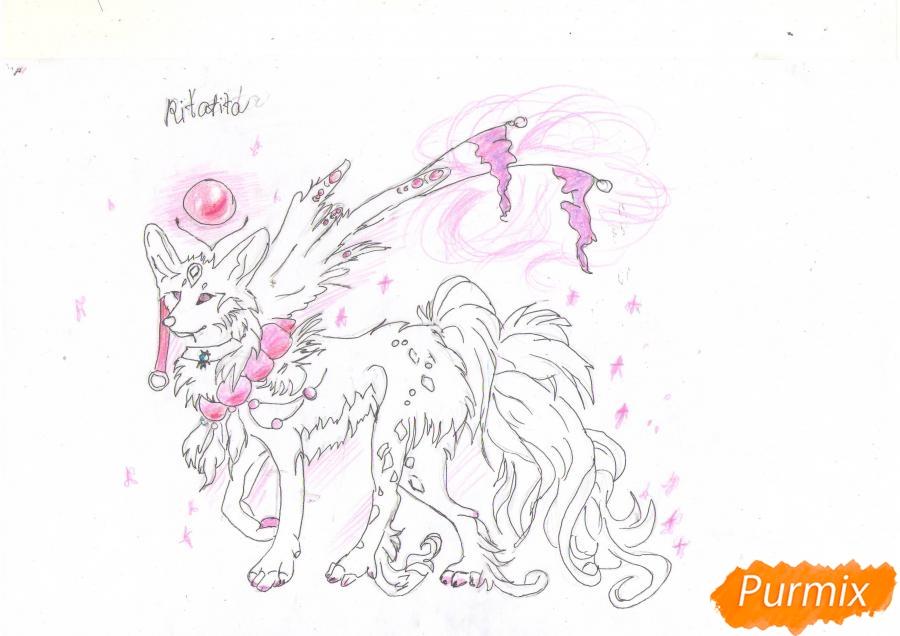 Рисуем красивую аниме волчицу цветными карандашами - шаг 8
