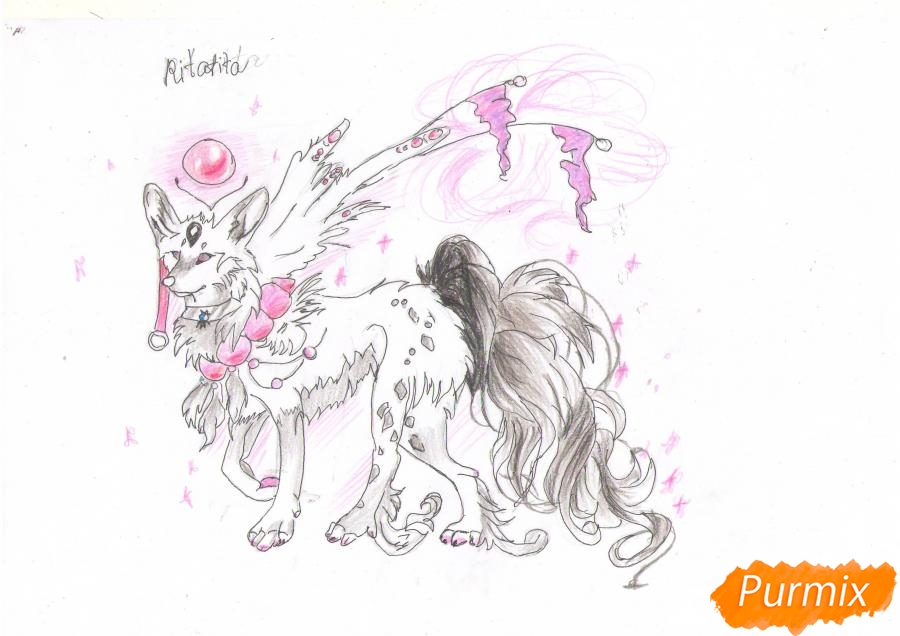 Рисуем красивую аниме волчицу цветными карандашами - шаг 9