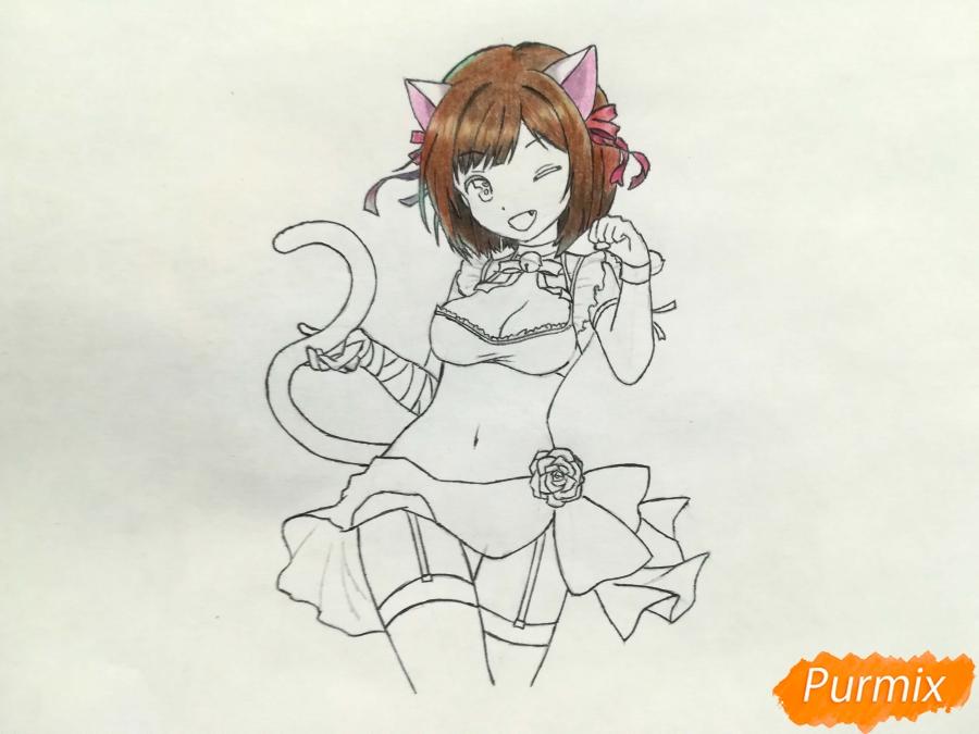 Рисуем красивую неко аниме девушку - шаг 11