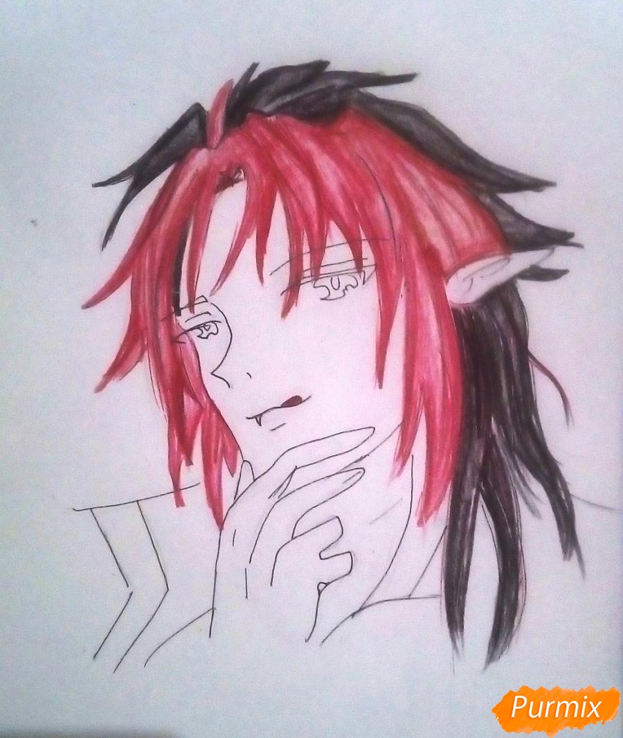 Рисуем Кроули Юсфорда из аниме Последний Серафим карандашами - фото 9