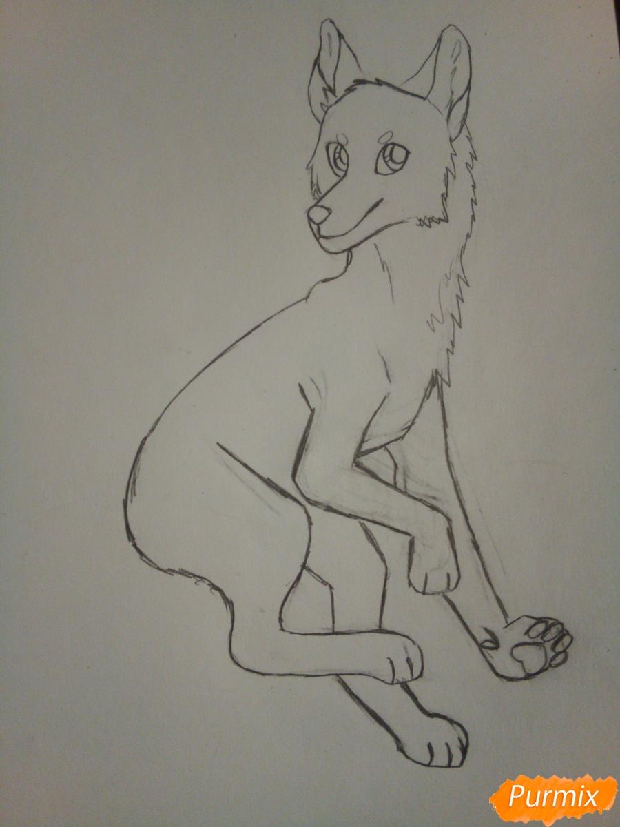 Рисуем крылатого волка в стиле аниме - шаг 4