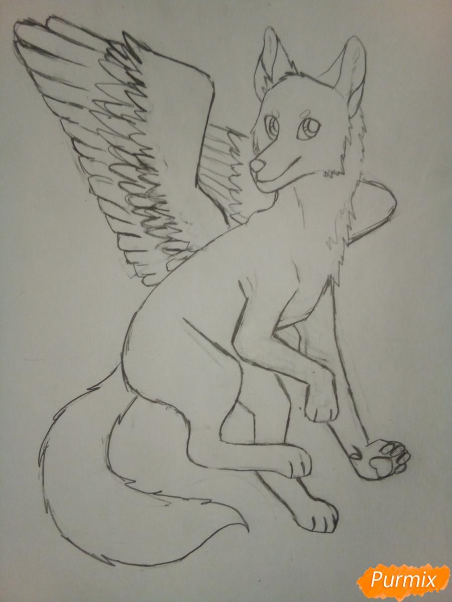 Рисуем крылатого волка в стиле аниме - шаг 5