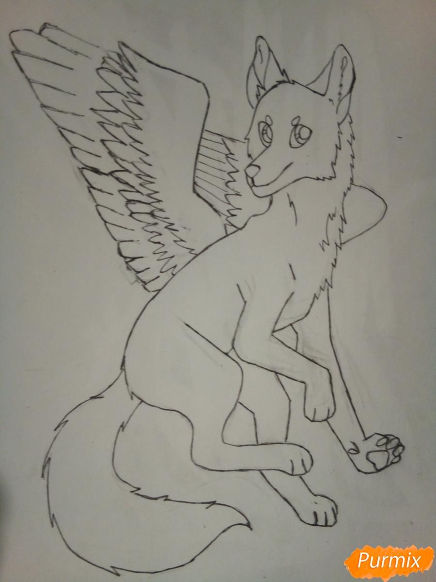 Рисуем крылатого волка в стиле аниме - шаг 6