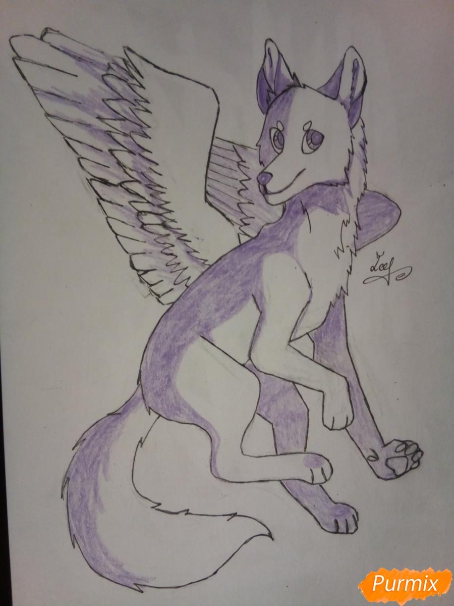Рисуем крылатого волка в стиле аниме - шаг 7
