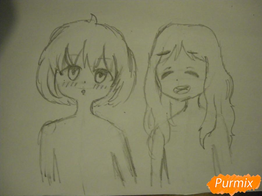 Рисуем Курияму Мирай и Ай Синдо из аниме за гранью карандашами - шаг 3