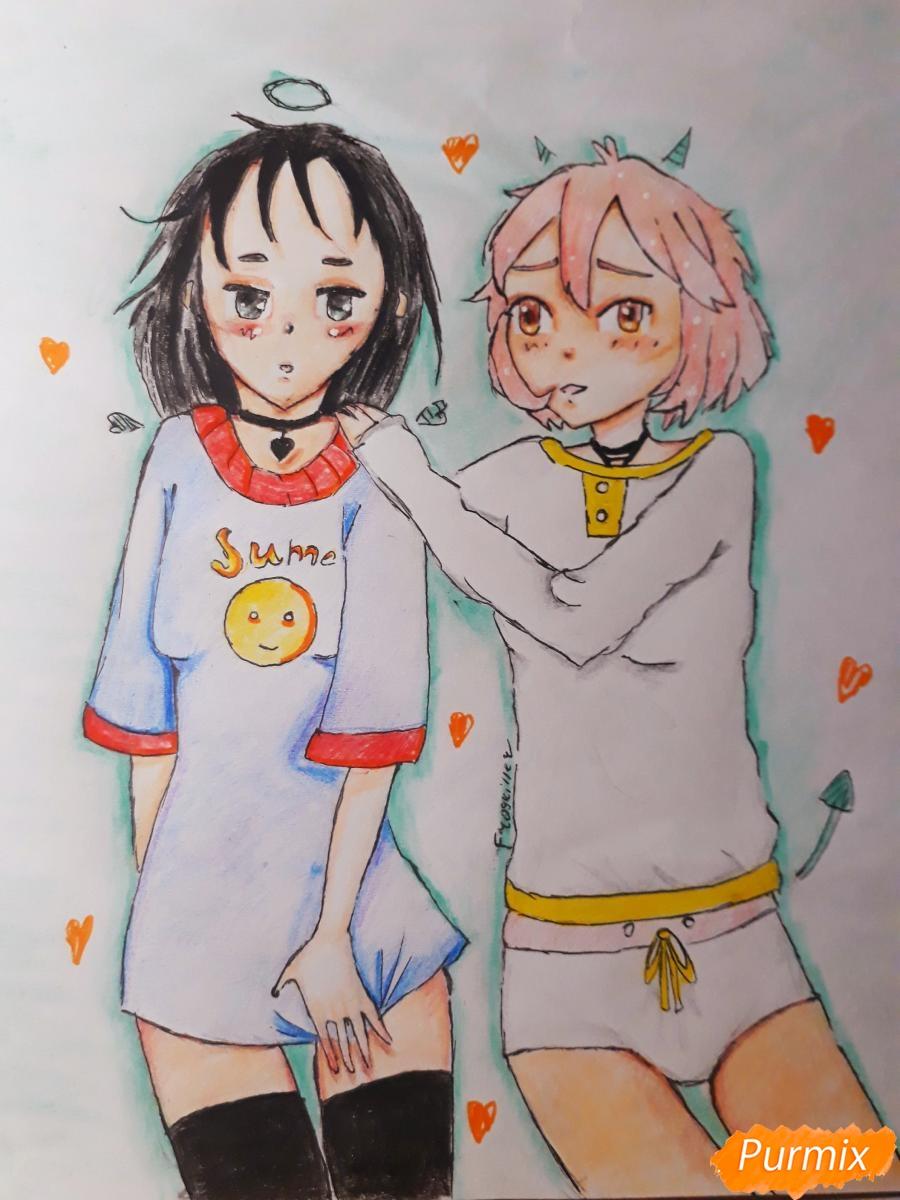 Как нарисовать Курияму Мирай и Мицуки Насэ из аниме За гранью