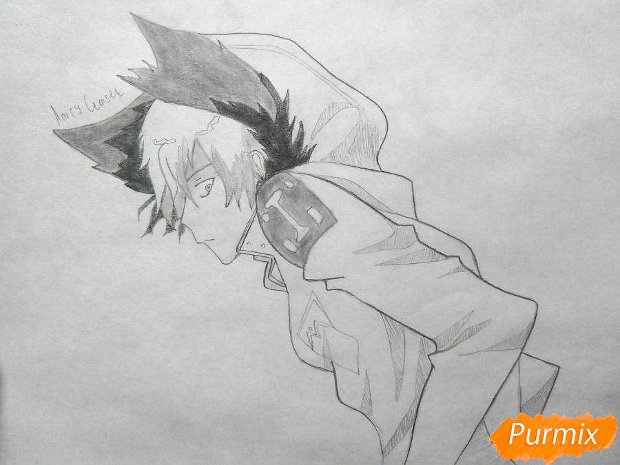 Как нарисовать Куро, слугу-вампира Лень из аниме Сервамп карандашом поэтапно