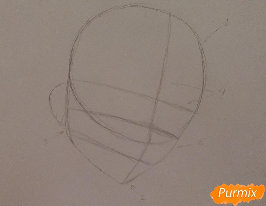 Рисуем Лелуша из аниме Код Гиасс часть 1 - шаг 1