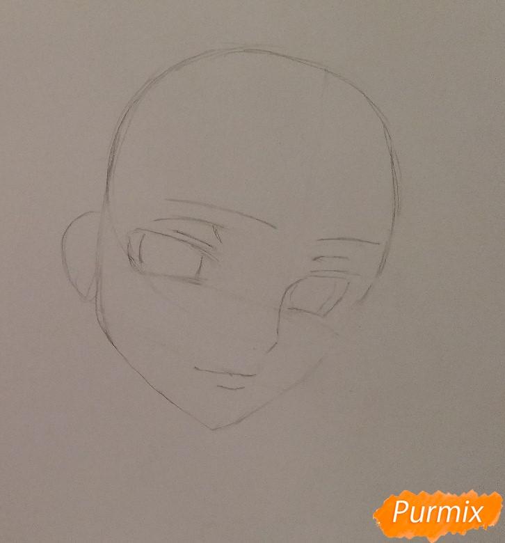 Рисуем Лелуша из аниме Код Гиасс часть 1 - шаг 2