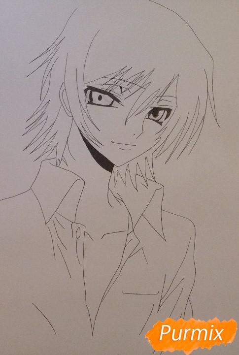 Рисуем Лелуша из аниме Код Гиасс карандашом поэтапно часть 1