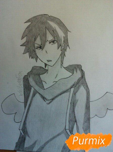 Как нарисовать Лихта Тодороки из аниме Сервамп карандашом поэтапно