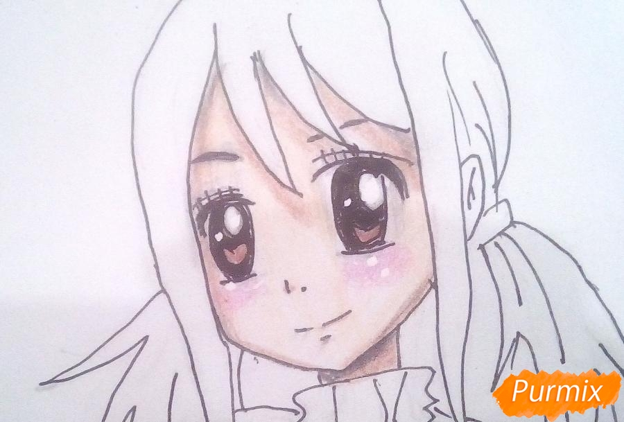 Рисуем Люси Сердоболию в свитере из аниме Хвост Феи карандашами - шаг 10