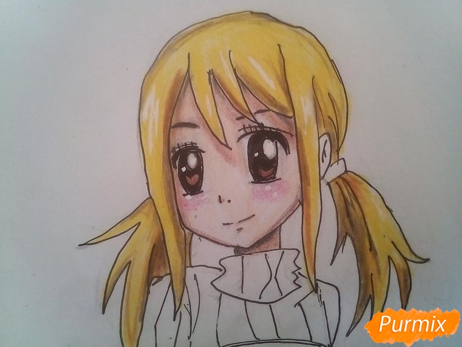 Рисуем Люси Сердоболию в свитере из аниме Хвост Феи карандашами - шаг 11