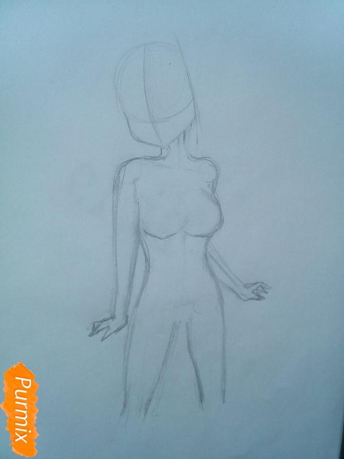 Рисуем Люси Сердоболию в свитере из аниме Хвост Феи карандашами - шаг 3