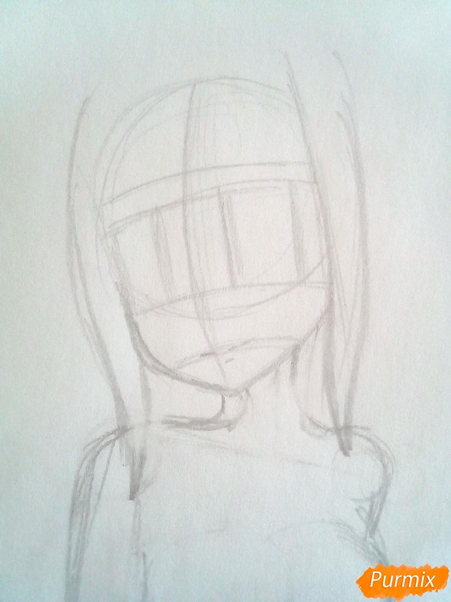 Рисуем Люси Сердоболию в свитере из аниме Хвост Феи карандашами - шаг 4