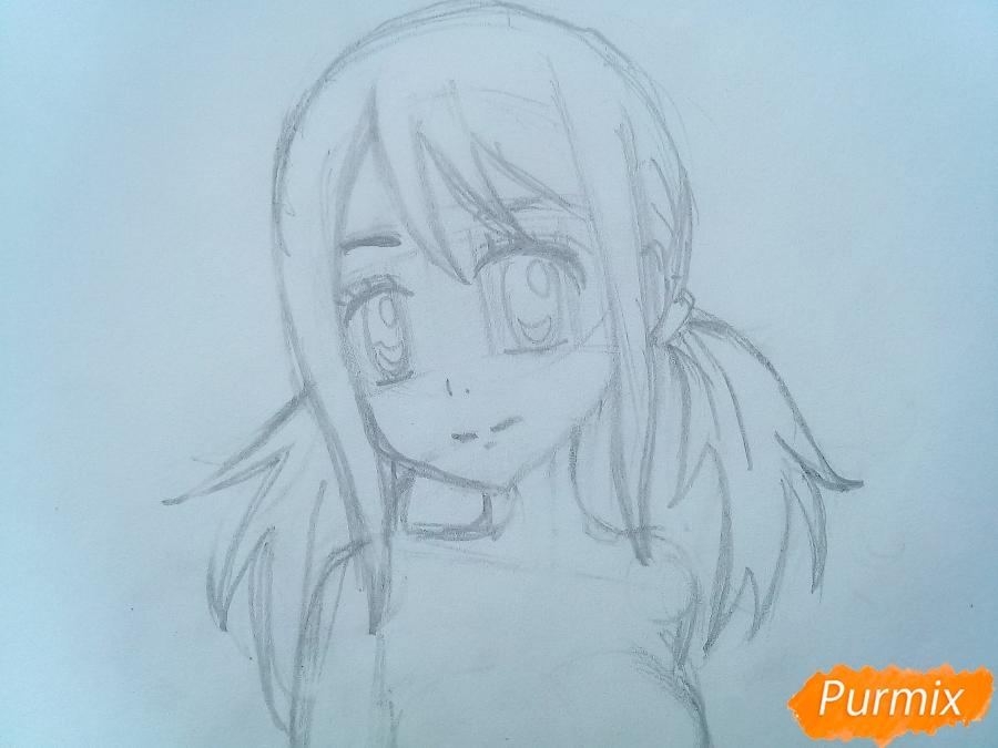 Рисуем Люси Сердоболию в свитере из аниме Хвост Феи карандашами - шаг 6