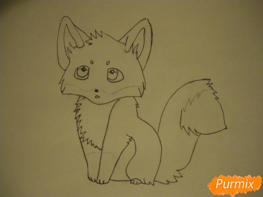 Рисуем маленького аниме лисёнка - фото 6